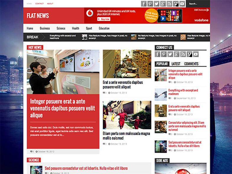 Flat News 80 Best Responsive Magazine WordPress Theme