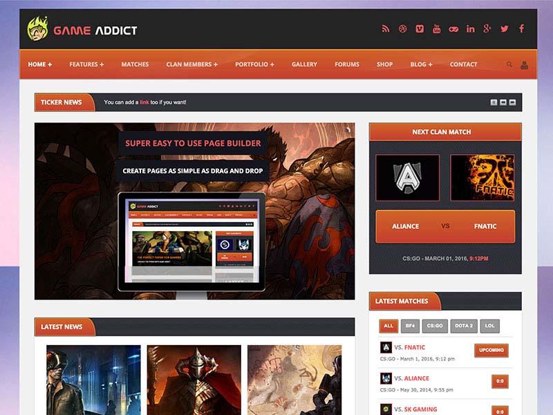 Game Addict Gaming WordPress Theme