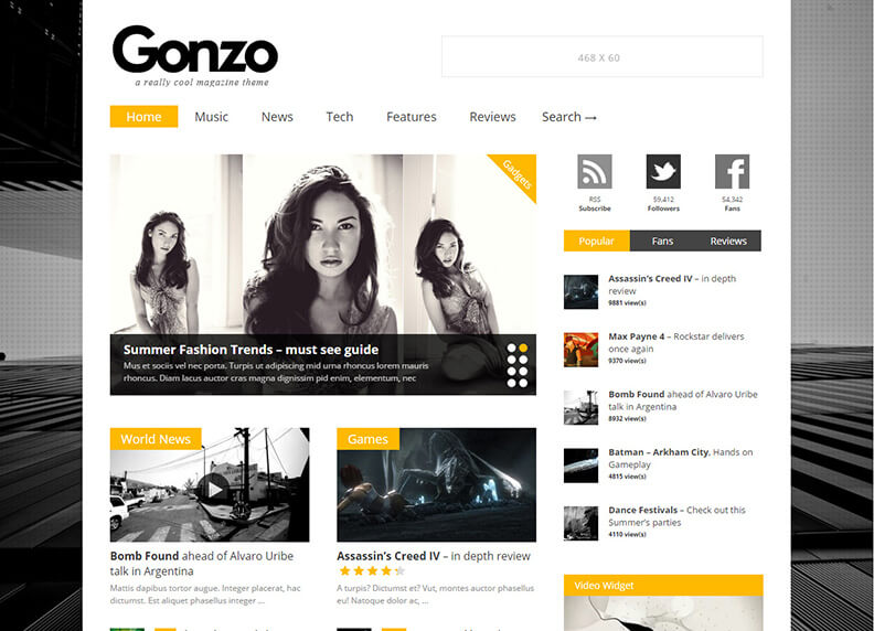Gonzo All in one seo 80 Best Responsive Magazine