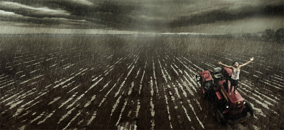 Harvester boy Weather Example of Rain Photography