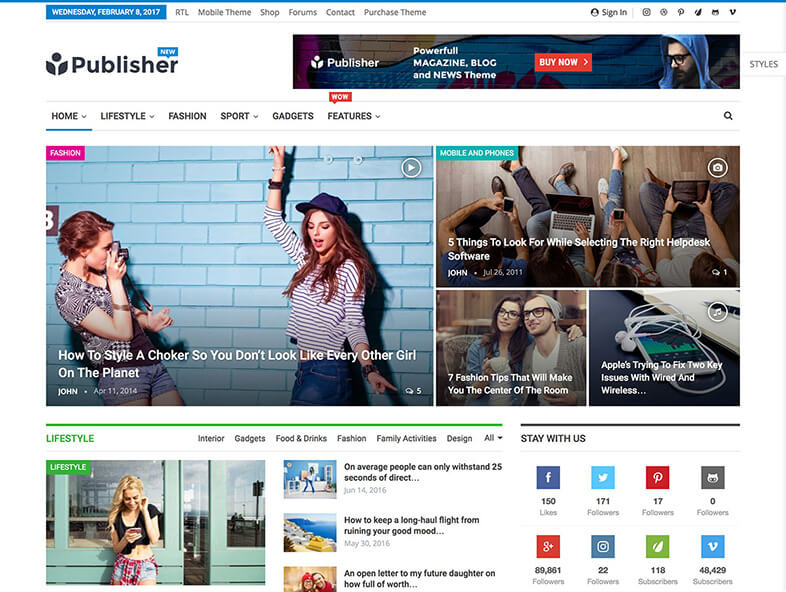 Publisher Magazine WordPress Theme