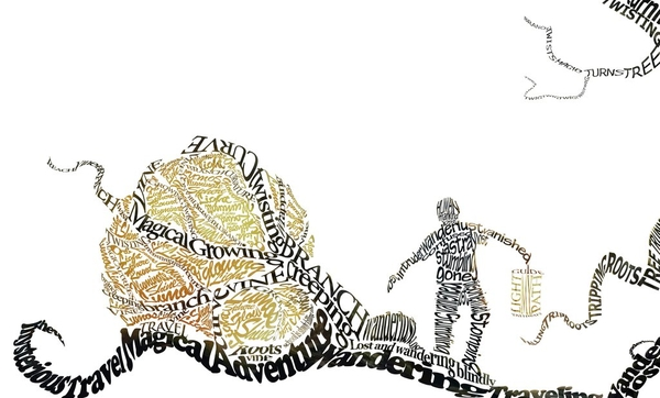 Running Text Art and Typography Art Design