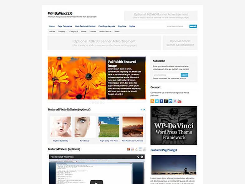 WP DaVinci Best Responsive Magazine WordPress Theme