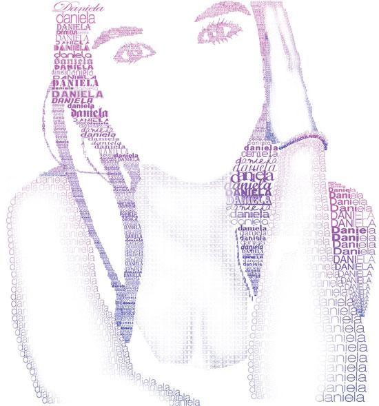 daniela Face Beautiful Example Of Text Art