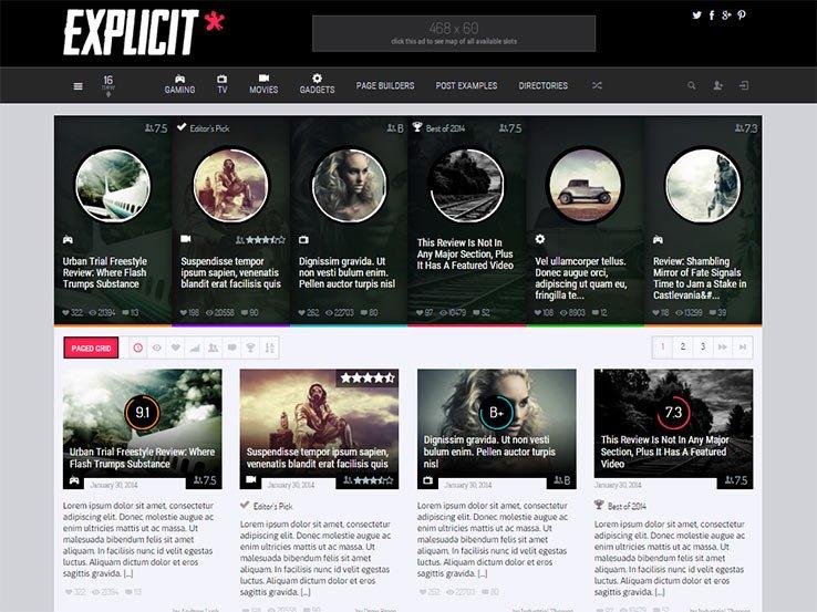 explicit Gaming WordPress Theme