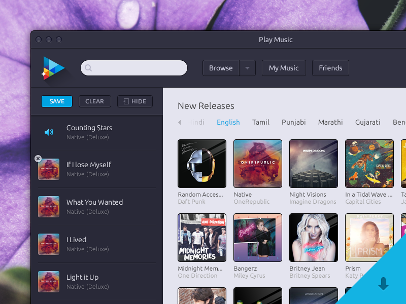 gallary music Video Player UI PSd