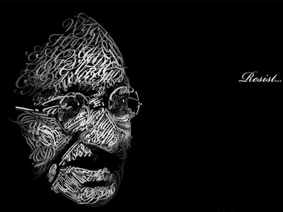 gandhi Example Of Text Art and Typography