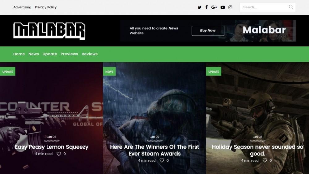 Malabar Best Responsive Gaming WordPress Theme