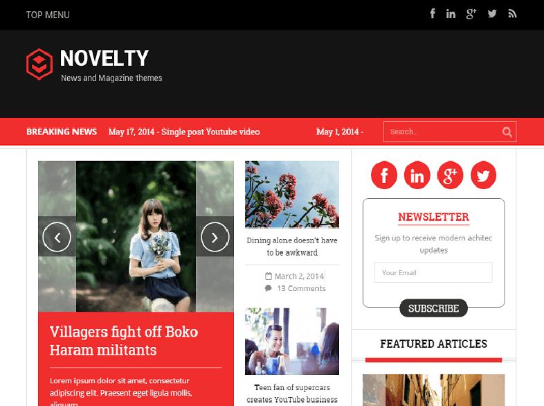novelty Magazine WordPress