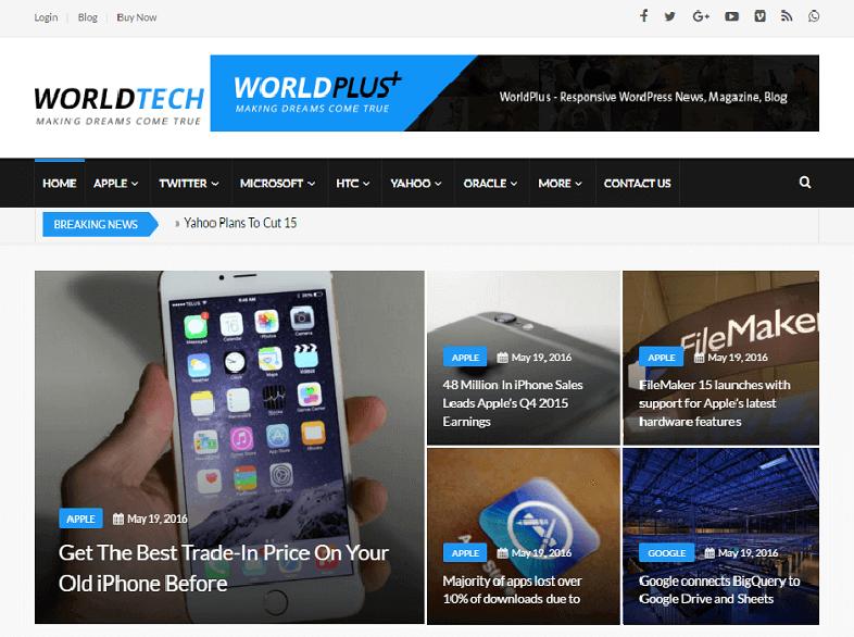 worldtech Best Responsive Magazine WordPress Theme